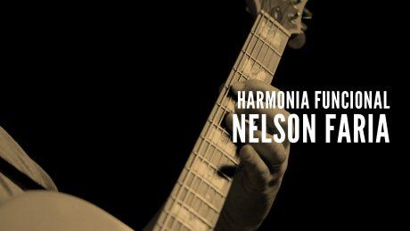 """Nelson Faria segura sua guitarra Condor com título """"Nelson Faria - Harmonia Funcional"""""""