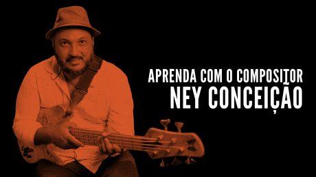 """Ney Conceição segura seu contrabaixo Fodera com o título """"Aprenda com o compositor - Ney Conceição"""""""