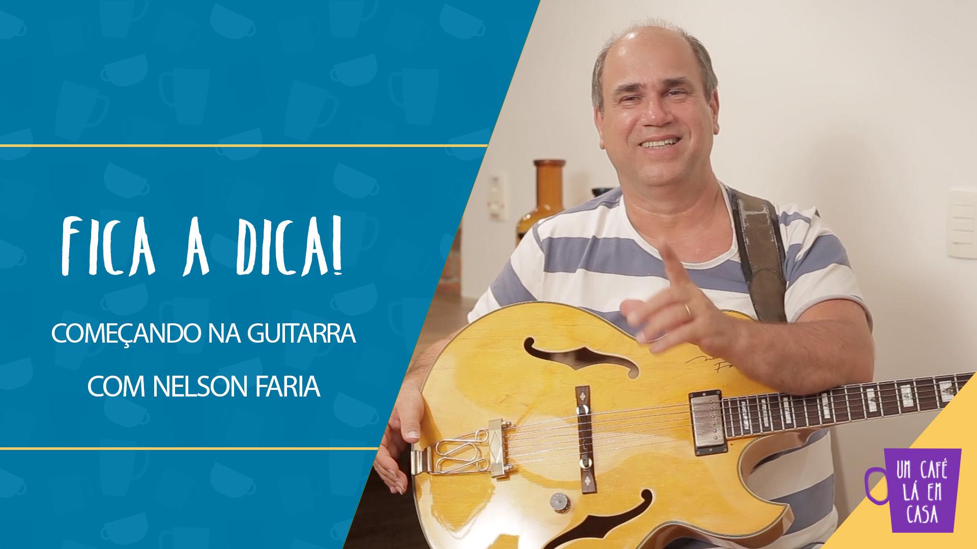 thumbnail do vídeo - Nelson Faria sorrindo e apontando pra câmera com sua guitarra