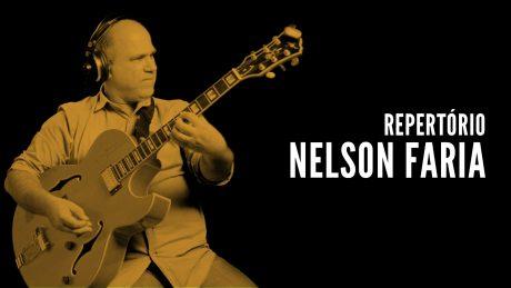 Nelson Faria segurando sua guitarra com o texto Repertório